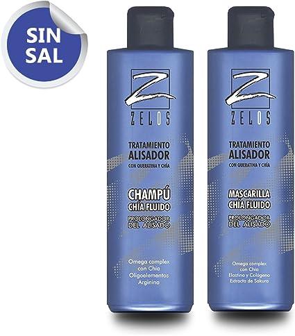 Pack Champú y Mascarilla Post Alisado - Sin Sal - 2 x 400ml Tratamiento Alisador - Prolonga el Pelo Liso hasta 6 Meses - Zelos: Amazon.es: Belleza