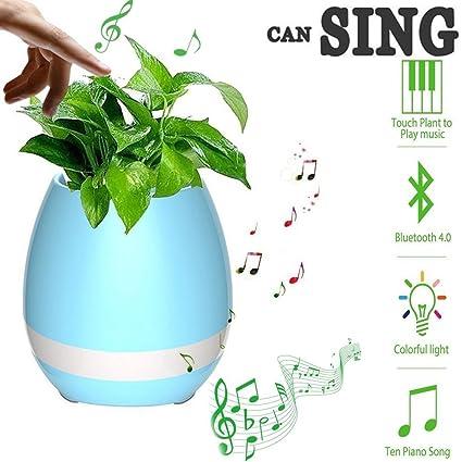 Smart Music Flowerpot Bluetooth Speaker Pots For Succulent Plants 7 Colored Night Light Christmas Birthday