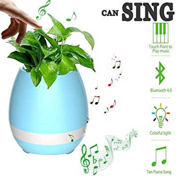 Smart Music Flowerpot Bluetooth Speaker Pots For Succulent Plants 7 Colored Night Light Christmas Birthday