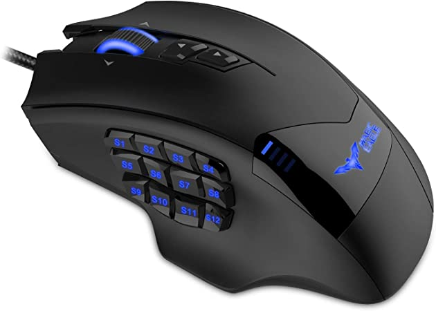 PW5 Wired Gaming Mouse RGB Laptop Computer-Black Silent Click 7 Programmable Buttons Mac USB Wired Mice for PC 4 Levels Adjustable DPI