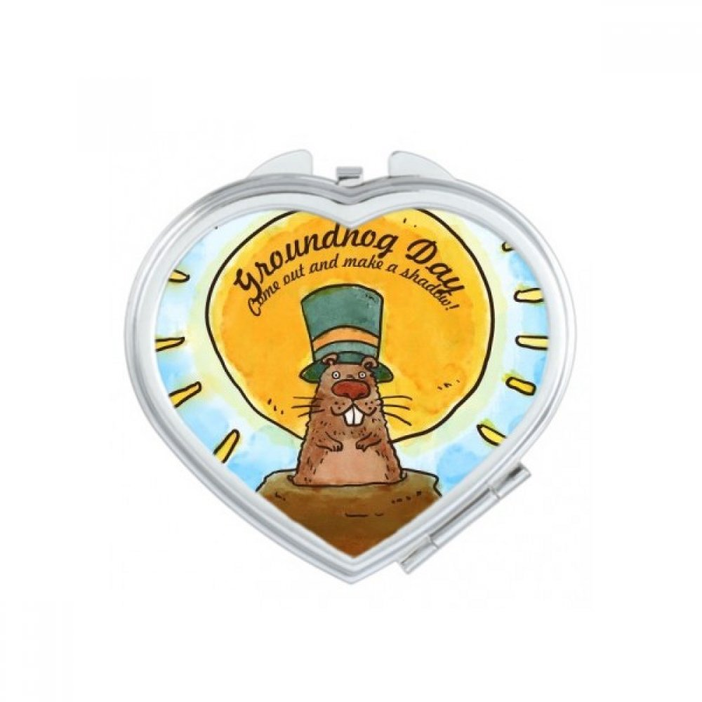 Groundhog Day USA America Canada Festival Heart Compact Makeup Pocket Mirror Portable Cute Small Hand Mirrors Gift