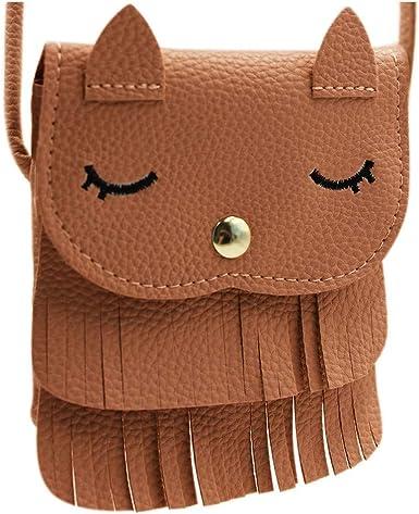 Fashion Kids Girl Cat Style Tassel PU Leather Shoulder Cross Body Mini Bag Q