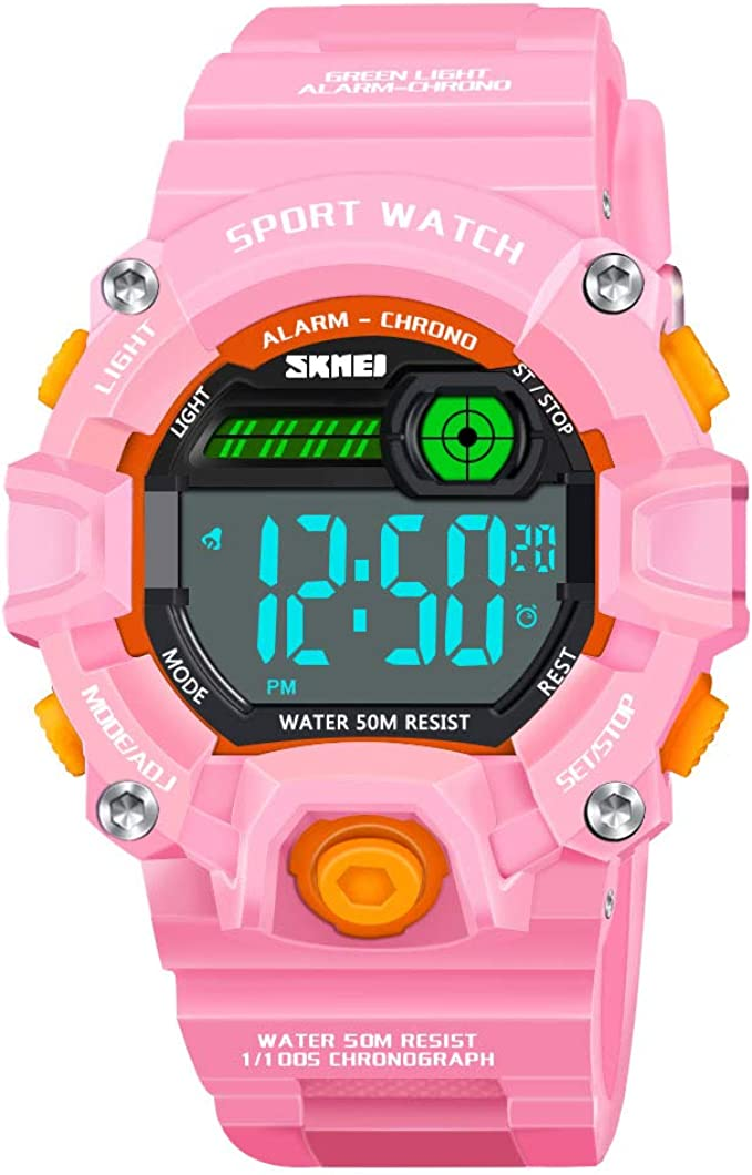 Amazon.com: KITY - Reloj digital deportivo para niños, Rosa ...
