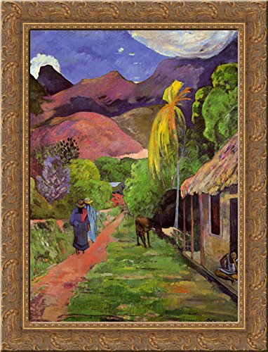 Road in Tahiti 24x18 Gold Ornate Wood Framed Canvas Art by Paul Gauguin