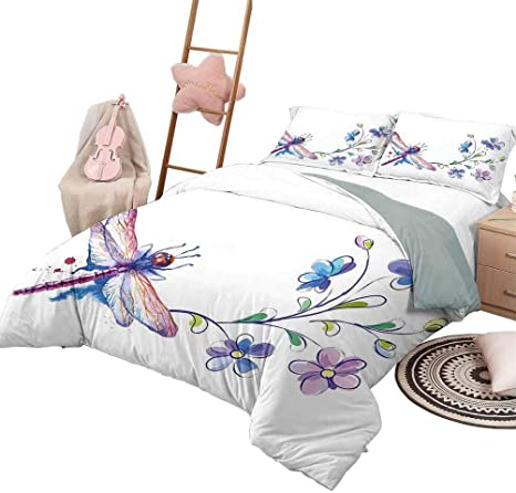 Daydayfun Duvet Cover Pattern Dragonfly Soft All Season Cotton Blend Bedspread Watercolor Bug Butterfly Like Moth With Branch Ivy Flowers Lilies Art King Size Green Purple And Blue Home Kitchen