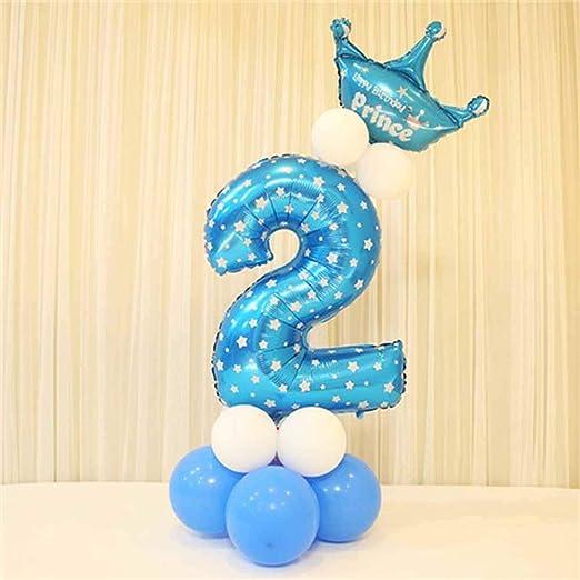 Globos de papel de aluminio con corona para fiesta de cumpleaños. Números 0 al 9 2 azul