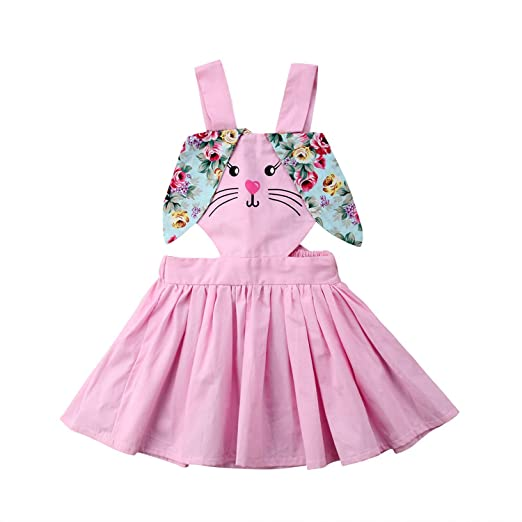 75ffc3d4c78c naivety Cute Kids Baby Girls Easter Bunny Ears Dress Cotton Sleeveless  Backless High Waist Outfit Mini