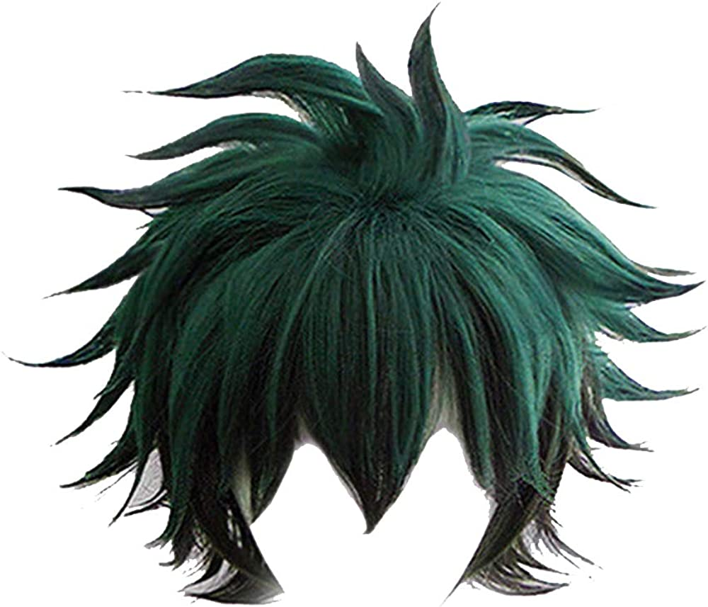 FangjunxianST My Hero Academia Izuku Midoriya Cosplay Full Wigs Short Green Black Hair