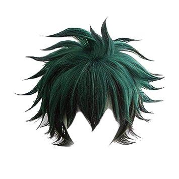 N/&A My Hero Academia Midoriya Izuku Deku Cosplay Wigs Black Green Halloween Costume Curly Wig(Green+Black)