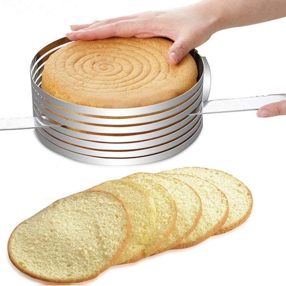 huqiongzhi Layer Cake Slicer Adjustable Retractable Stainless Steel Mousse Mold Round Baking Kit Mould Cut Tools