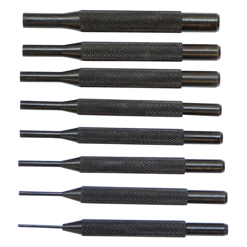 8 Pc Steel Drive Pin Punch Set 4 Long Knurled Body Punches Tool Set
