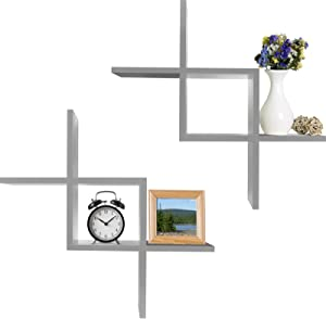 Greenco Criss Cross Intersecting Wall Mounted Floating Shelves Gray Finish, 2-Pack, 2 Count