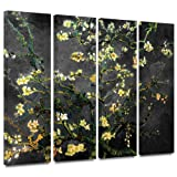 ArtWall 4-Piece Vincent Van Gogh Almond Blossom Interpretation Gallery Wrapped Canvas Artwork, 36 by 54-Inch, Dahlia Black