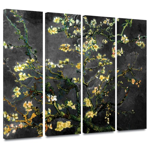 ArtWall 4-Piece Vincent Van Gogh Almond Blossom Interpretation Gallery Wrapped Canvas Artwork, 36 by 54-Inch, Dahlia Black by Art Wall