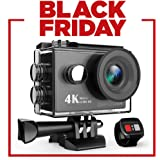DBPOWER 4K Sport Action Camera WIFI 12MP Ultra HD Waterproof Underwater Camera 170 Degree Wide-Angle 2.4 GHz Remote 2 Inch LCD Screen with Rechargeable Batteries and Accessories Kits (Black)