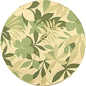 Safavieh Berkeley Collection BK126A-5R Handmade Beige and Green Wool Round Area Rug, 5-Feet 6-Inch