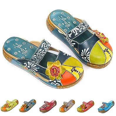 gracosy Pantofola in Pelle Scarpe da Donna Estivi Mocassini Sandali Piatti Slip On Estiva Slipper di Oxford Vintage a Suola Spessa e con Motivo a
