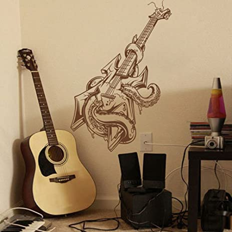 MairGwall Fashion Bass Guitar Decor Octopus Wall Art Pop Music Vinyl Heavy Metal Teen Room