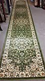 Traditional Long Persian Runner Rug Green Design 603 (31inches X14 feet 5 inches )