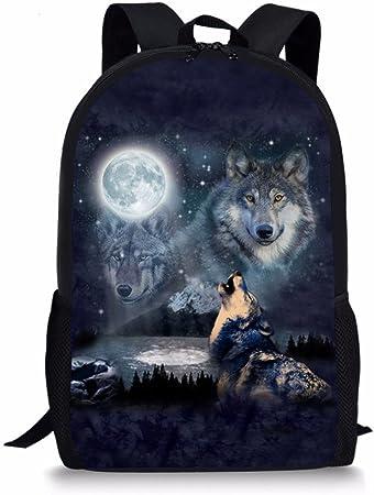 Chaqlin Kinder Schulrucksack Mit Coolem Wolfsmotiv Wolf 1 Einheitsgröße Bekleidung