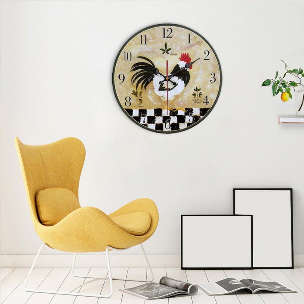 Spicy Meow Horloge Murale de Motif de Coq Horloge r/étro de Batterie Horloge d/écorative de Maison 14
