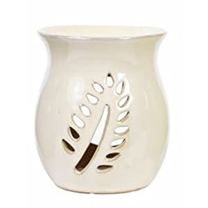 """Hosley White Ceramic Oil Warmer - 4.2"""" High for Use with Tea Lights. Ideal for Spa and Aromatherapy Brand Essential Oils and Fragrance Oils. O6"""