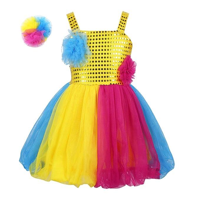 dPois Vestido Lentejuelas Dorado Disfraz de Fiesta Danza ...