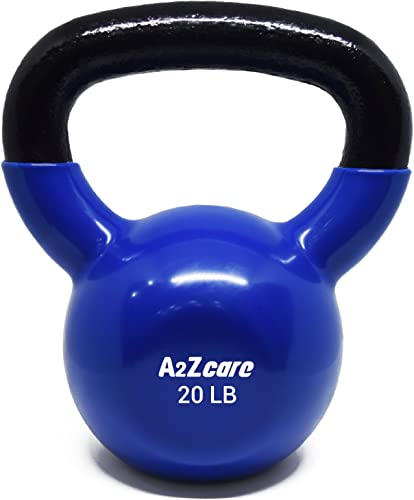 A2ZCARE Vinyl Coated Kettlebells for Cross Training, Swings, Body Workout and Muscle Exercise or Adjustable Kettlebell Handle fit 1 Inch Standard Weight Plate