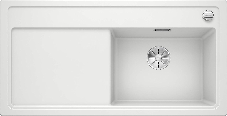 K/üchensp/üle mit XL-Becken Silgranit PuraDur Anthrazit-schwarz // mit Glas-Schneidbrett Becken rechts InFino-Ablaufsystem und Ablauffernbedienung; 523706 Blanco Zenar XL 6 S Compact