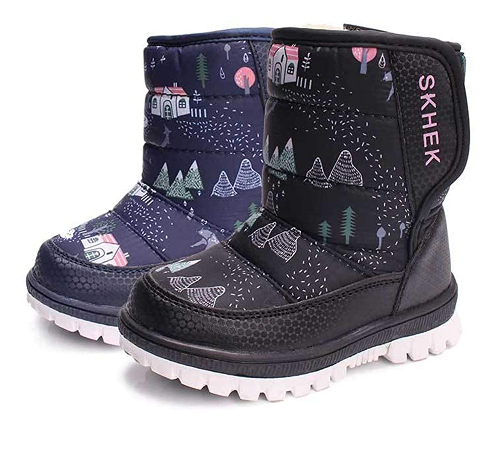 coloing Kids Winter Snow Boots Waterproof Outdoor Warm Faux Fur Lined Shoes