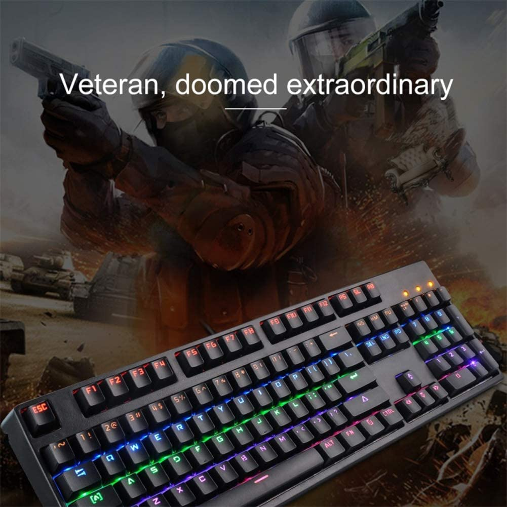 Wired Colorful Backlit Gaming Mechanical Keyboard USB Black Size: 44x13.x3.5cm