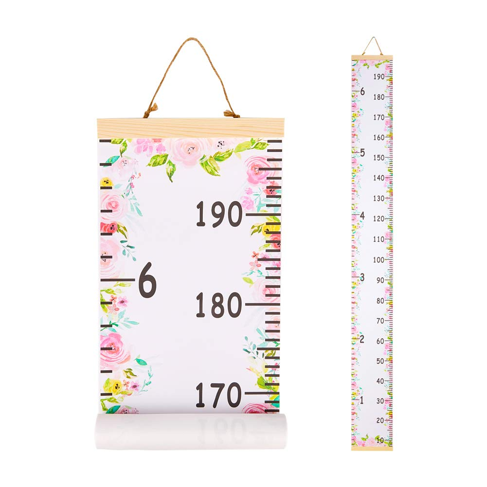 Beinou Baby Growth Chart Ruler for Kids Wood Frame Height Measure Chart 7.9'' x 79'' Canvas Pink Flower Hanging Height Growth Chart for Baby Nursery Decoration, Baby Shower Gift