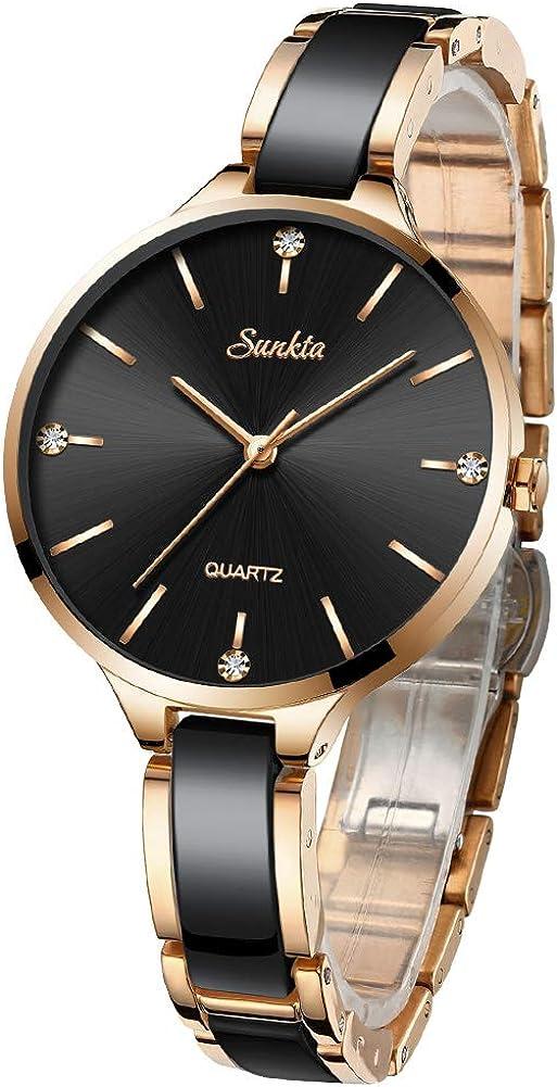 SUNKTA Relojes para mujer de oro rosa para mujer, analógico, de cuarzo, resistente al agua, a la moda, de cerámica, reloj de pulsera para niña