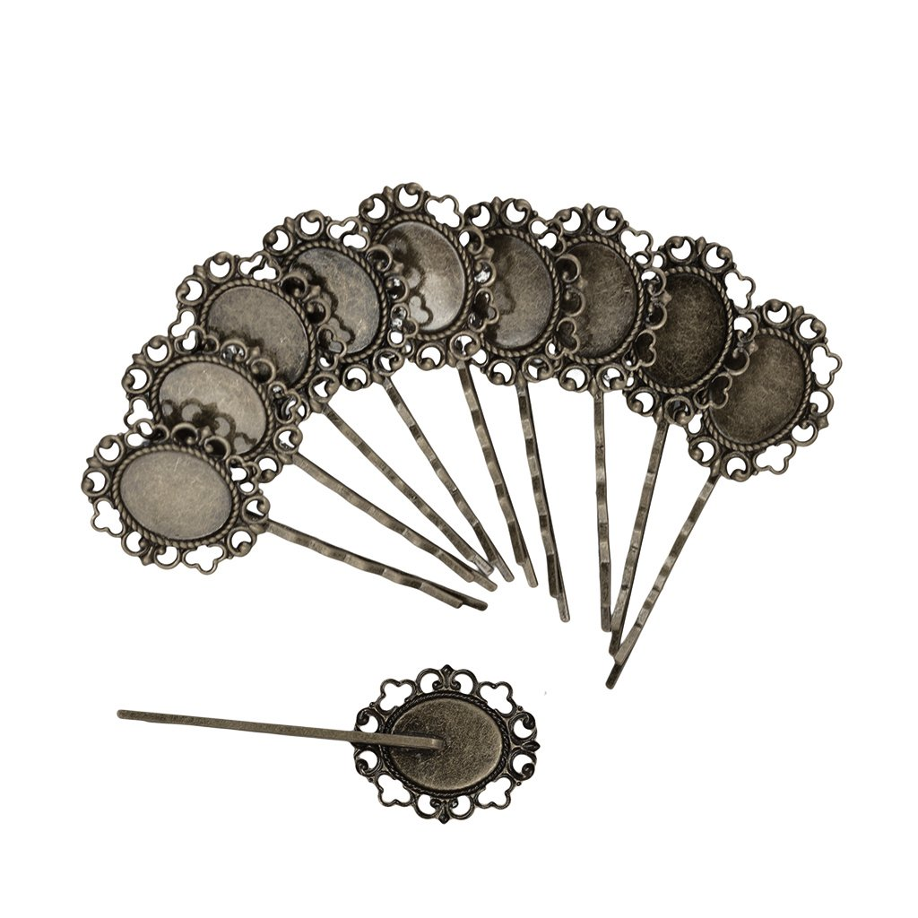 Generic 10 Pcs Retro Bronze Gothic Flower Blank Oval Hair Clip Pin Headwear Jewelry