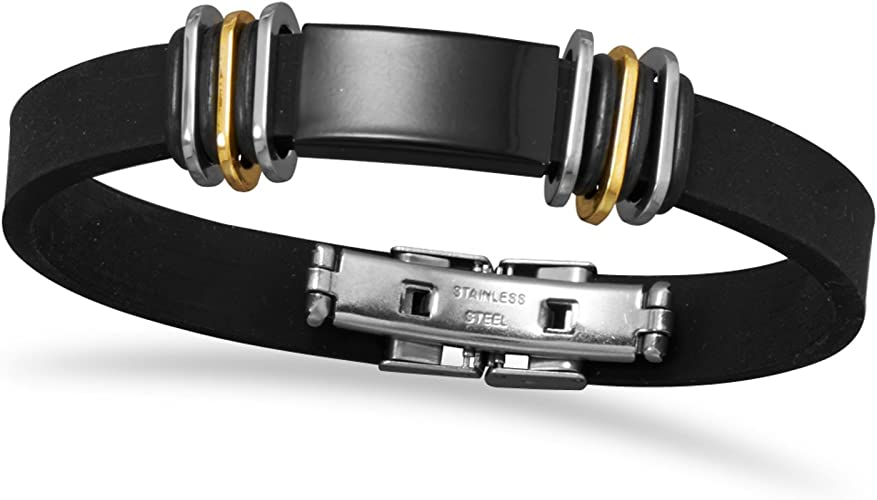 Accessories 8 Two Tone Stainless Steel and Rubber Mens ID Bracelet Suzy B