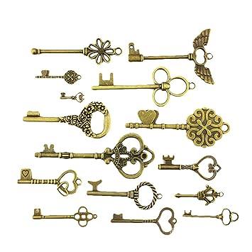Amazon.de: outflower 15 Stück antik bronze Vintage Skelett Schlüssel ...