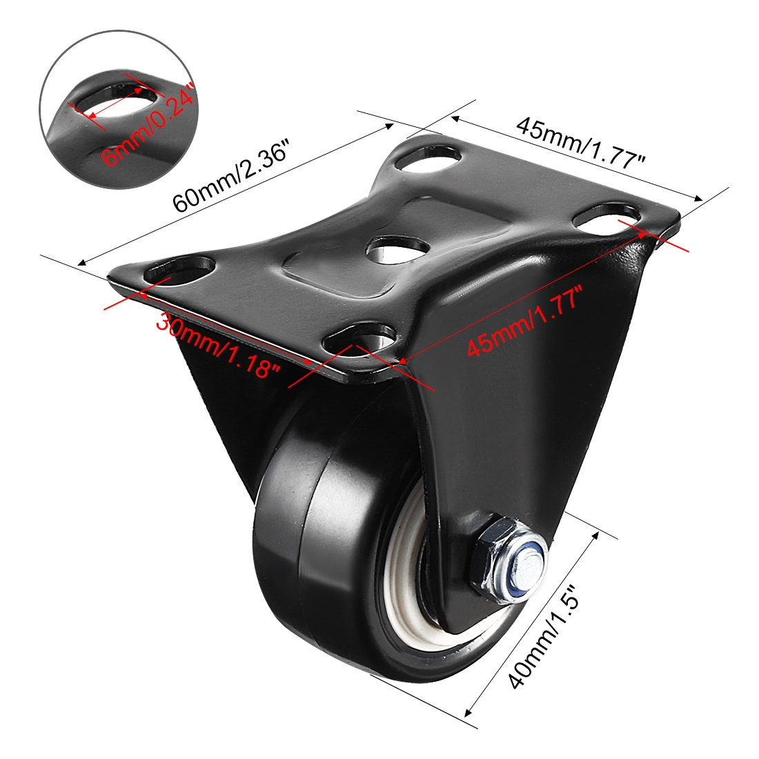 Pack of 2 110lb Capacity Each Wheel uxcell 1.5 Inch Fixed Caster Wheels PU Top Plate Mounted Caster Wheel