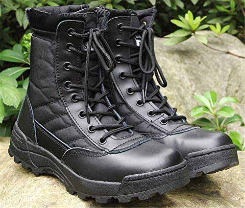 Combat Boots Men Leather, Antiskid Lace up Army Shoes Training Use High-Top Military Bootie 2 Colors Size 6-9.5