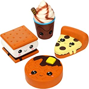 TEEGOMO 4 Pcs Squishies Big Eyes Pizza Biscuit Waffle Coffe Cup Slow Rising Scented Jumbo Squishy Squeeze Squishies Toys and Gifts