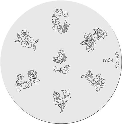 Placa de Diseños Konad Original. m54, Plantilla para uñas Image Plate Konad España.: Amazon.es: Belleza