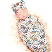 Galabloomer Newborn receiving blanket headband set owl print baby swaddle girl blankets