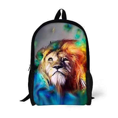 HUGS IDEA Colorful Lion Fashion Kids Schoolbag Student School Backpack for Teens Boys