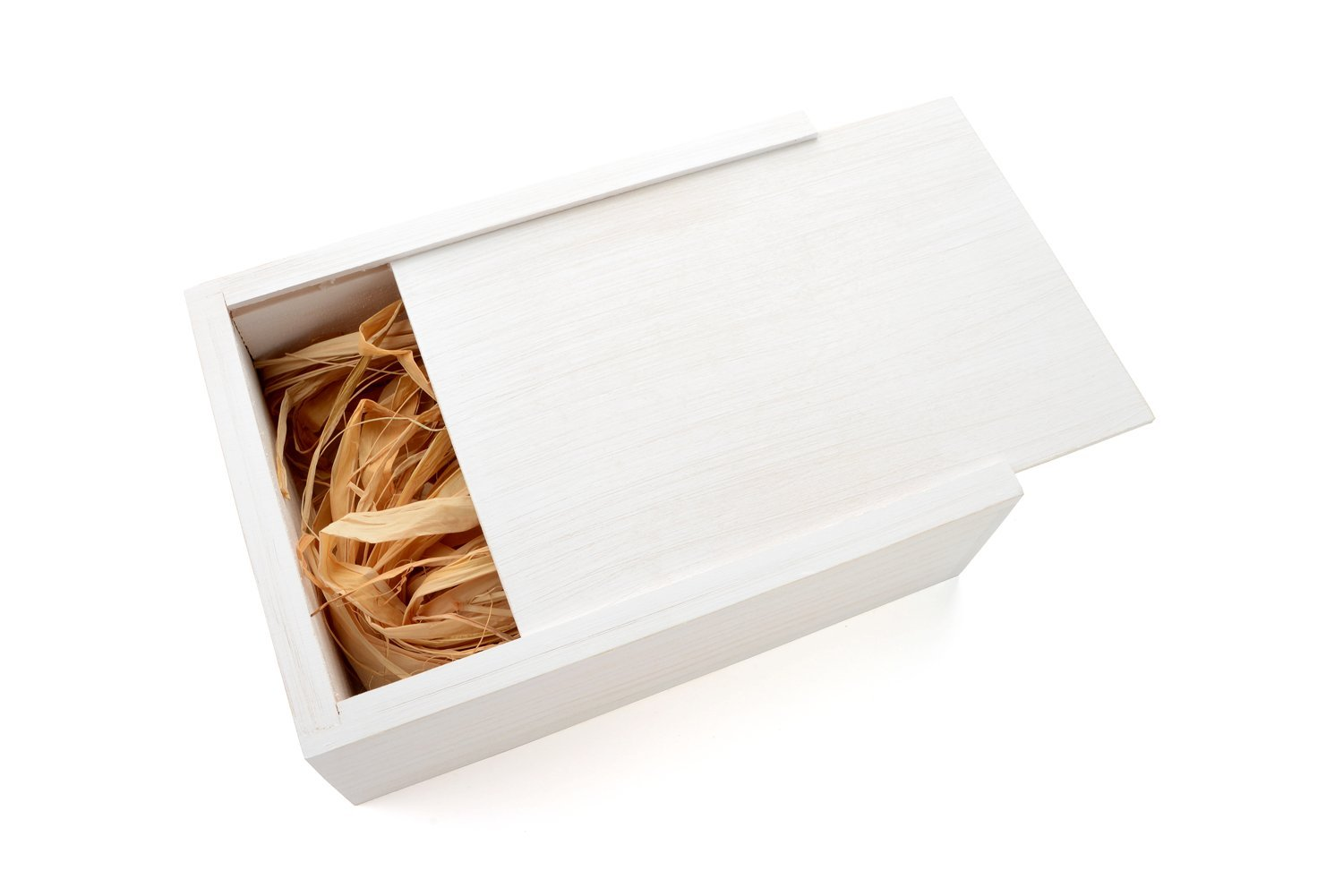 Wedding White 4 x 6 Picture Box - Holds up to 125 4 x 6 Photos - Filled with Raffia Grass