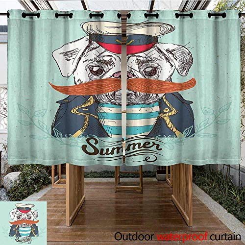 Outdoor Curtains Pug Captain Dog with Hat Mustache Jacket and Shirt Cute Animal Funny Image Waterproof Patio Door Panel 108