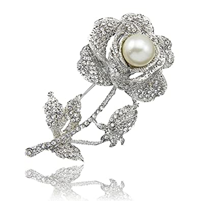 a2bf8e2db8d91 SANWOOD Women's Rose Flower Faux Pearl Rhinestone Brooch breastpin broach  Pin Bridal Jewelry Gift (silver)