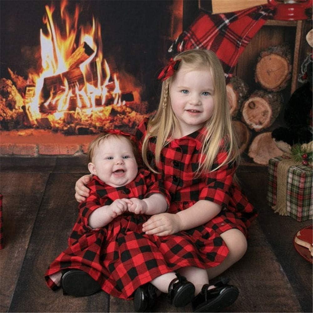 Toddler Baby Girls Plaid Dress Half Sleeve Pleated Tutu Dress Christmas Party Princess Shirts Dress