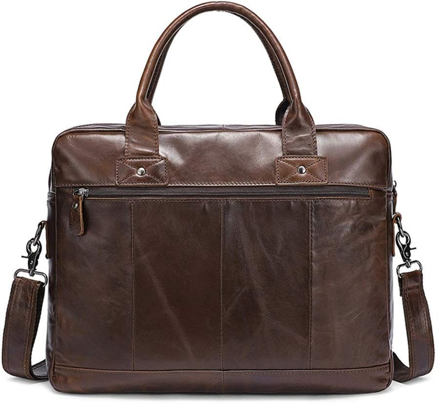 Zhouminli Vintage Leather Tote Briefcase Large Capacity Mens Travel Bag Leather Business Briefcase 15.6 Laptop Case