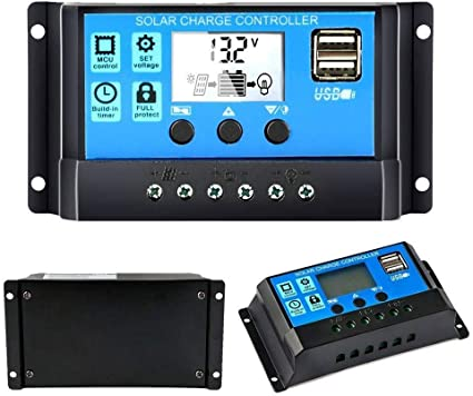 10A-60A 12//24V LCD Solar Panel Charge Controller Battery Regulator PWM Dual USB