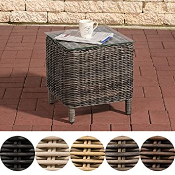 Clp Poly Rattan Side Table Vilato 5mm Round Wicker With Alu