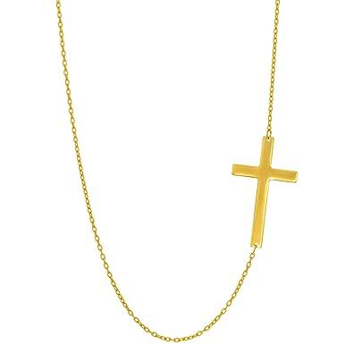 14k yellow gold sideways cross pendant necklace 18 amazon 14k yellow gold sideways cross pendant necklace 18quot aloadofball Choice Image